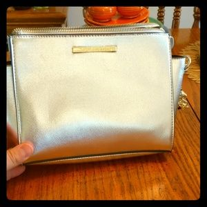 Steve Madden Silver Metallic Cross Body Handbag